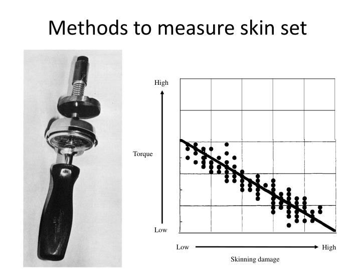 Methods to measure skin set