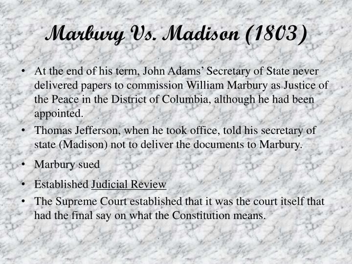 Marbury Vs. Madison (1803)