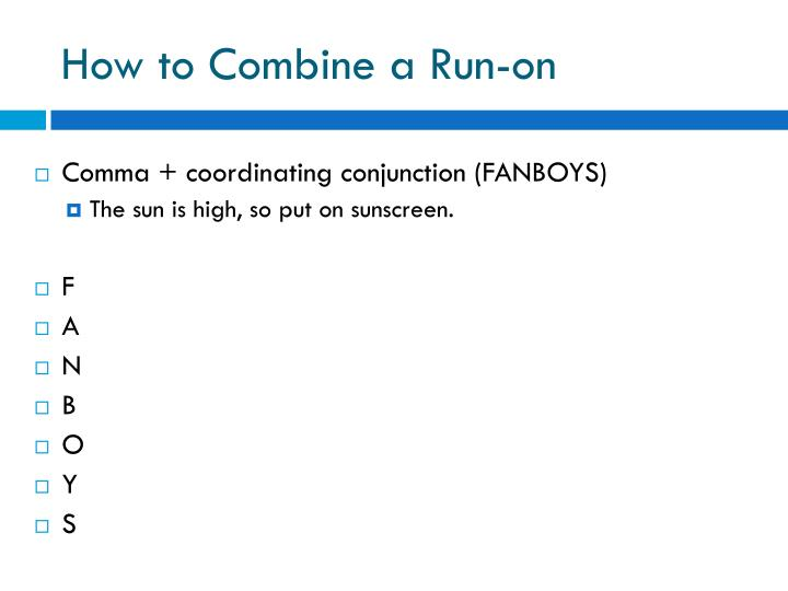 How to combine a run on