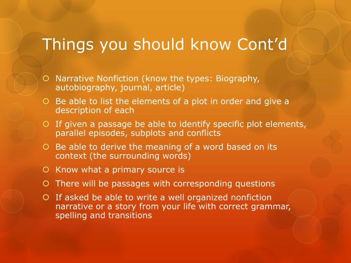Things you should know Cont'd