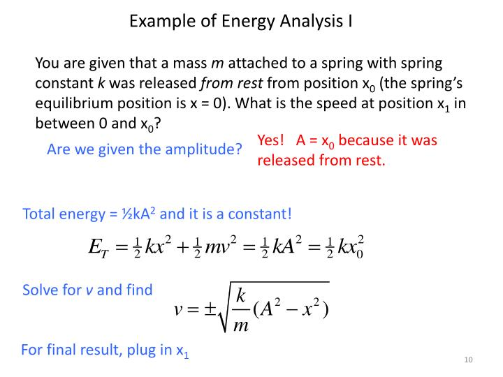 Example of Energy Analysis I