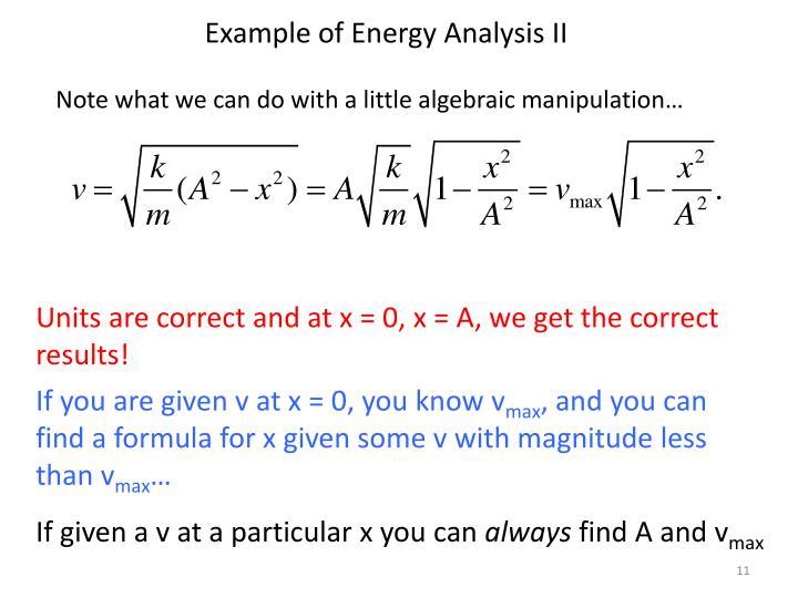 Example of Energy Analysis II