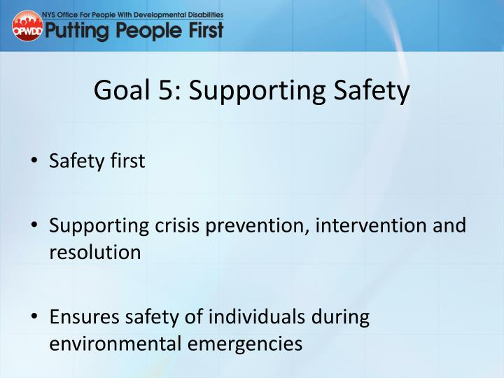 Goal 5: Supporting Safety