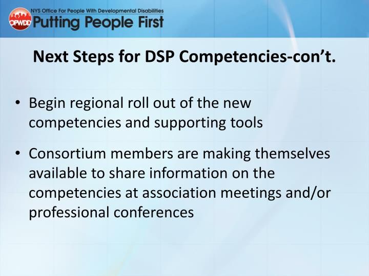 Next Steps for DSP Competencies-