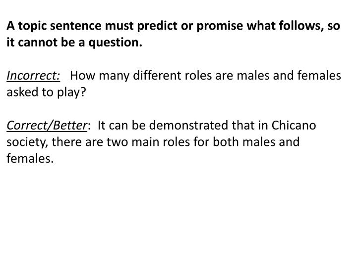 A topic sentence must predict or promise what follows, so it cannot be a question