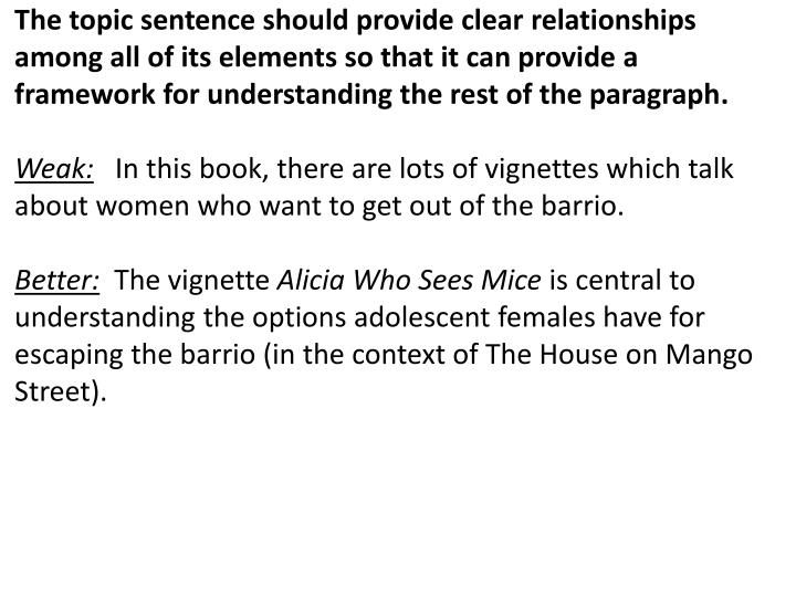 The topic sentence should provide clear relationships among all of its elements so that it can provide a framework for understanding the rest of the paragraph