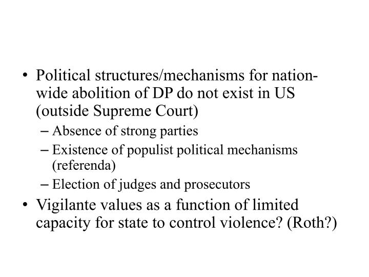 Political structures/mechanisms for nation-wide abolition of DP do not exist in US (outside Supreme Court)