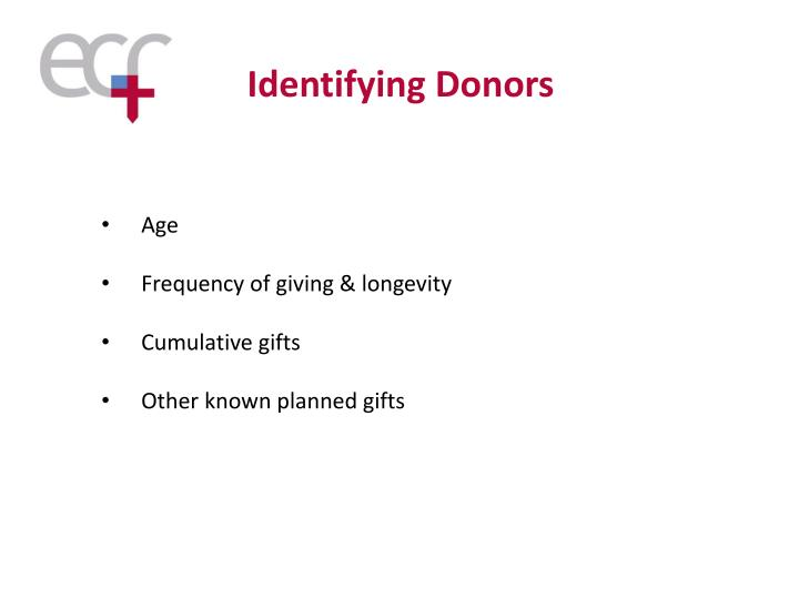 Identifying Donors