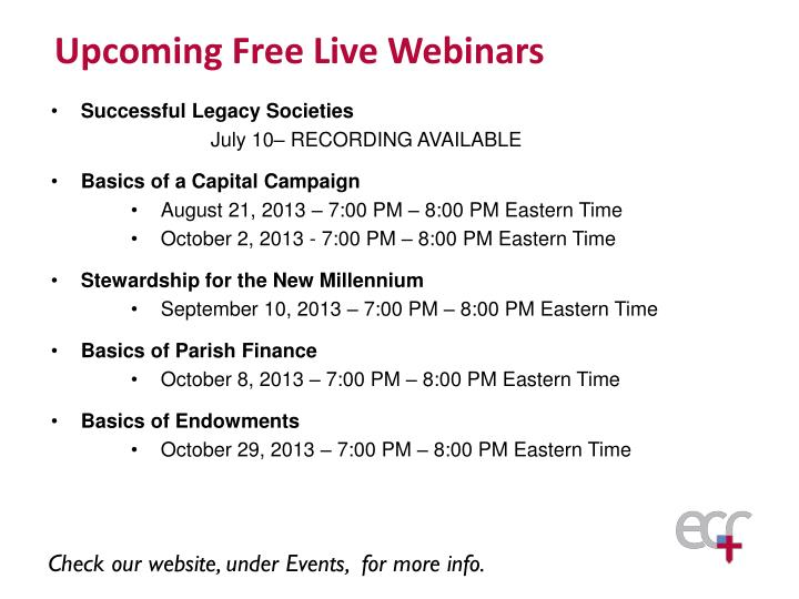 Upcoming Free Live Webinars