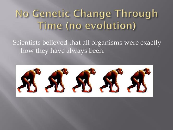 No genetic change through time no evolution