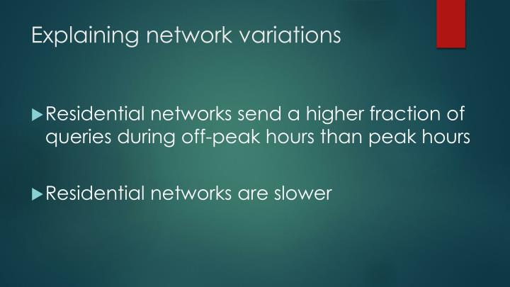 Explaining network variations
