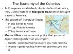 the economy of the colonies