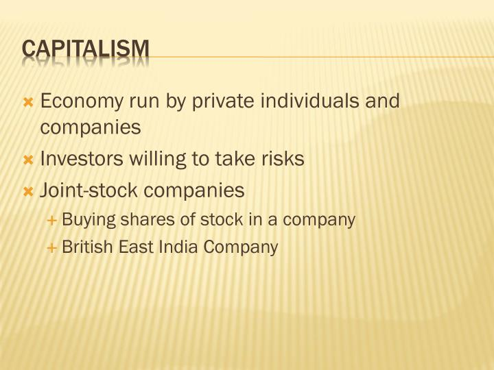 Economy run by private individuals and companies