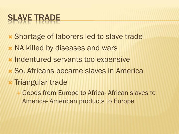 Shortage of laborers led to slave trade