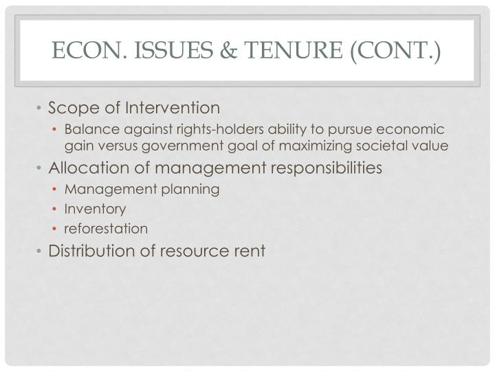 Econ. Issues & Tenure (cont.)