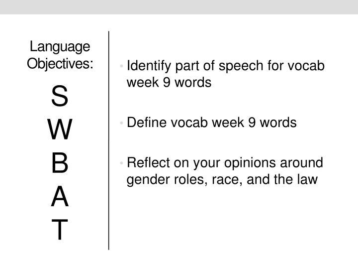Language Objectives: