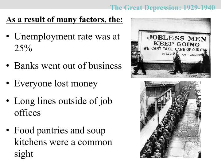 The Great Depression: 1929-1940