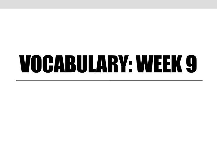 Vocabulary: Week