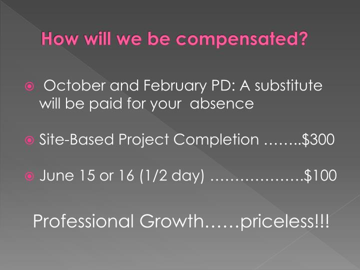 How will we be compensated?