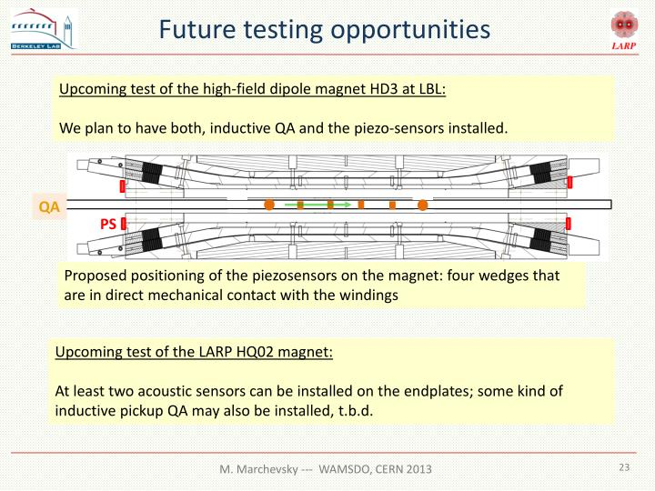 Future testing opportunities