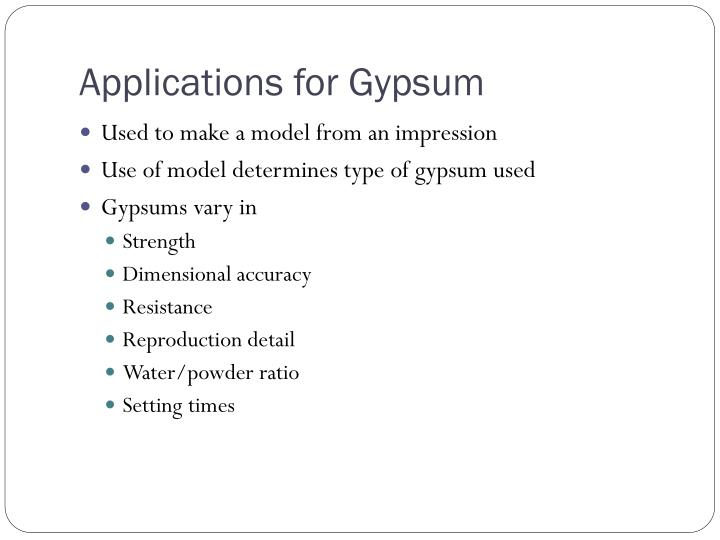 Applications for gypsum