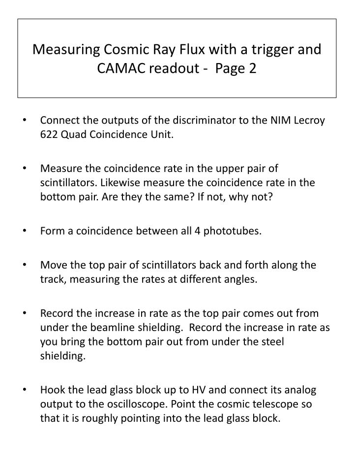 Measuring cosmic ray flux with a trigger and camac readout page 2