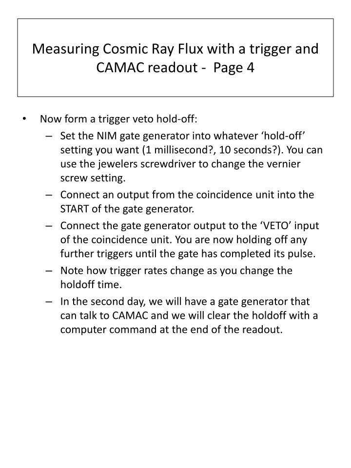Measuring Cosmic Ray Flux with a trigger and CAMAC readout -  Page 4