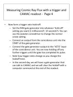 measuring cosmic ray flux with a trigger and camac readout page 4