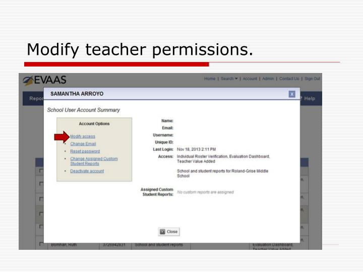 Modify teacher permissions.