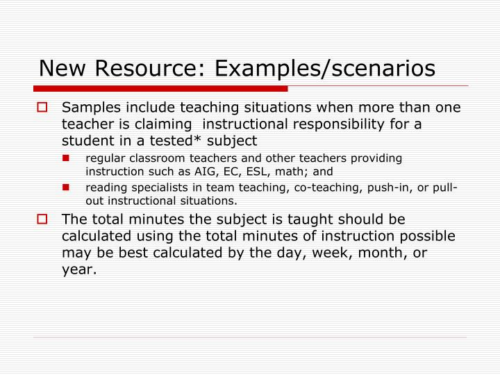 New Resource: Examples/scenarios