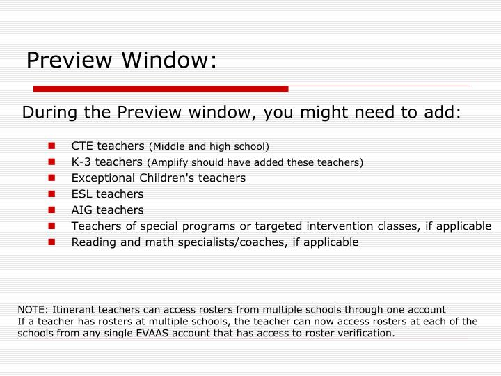 Preview Window: