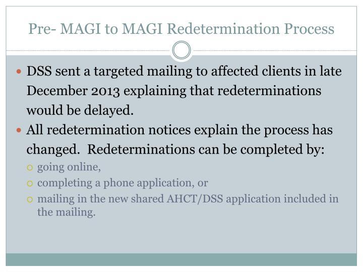 Pre- MAGI to MAGI Redetermination Process