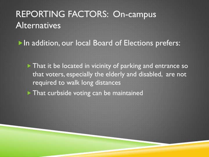 Reporting factors: