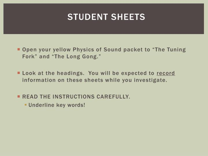 Student Sheets