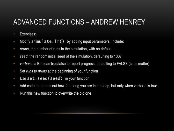 Advanced functions – Andrew Henrey