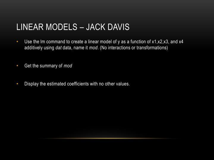 Linear models – jack