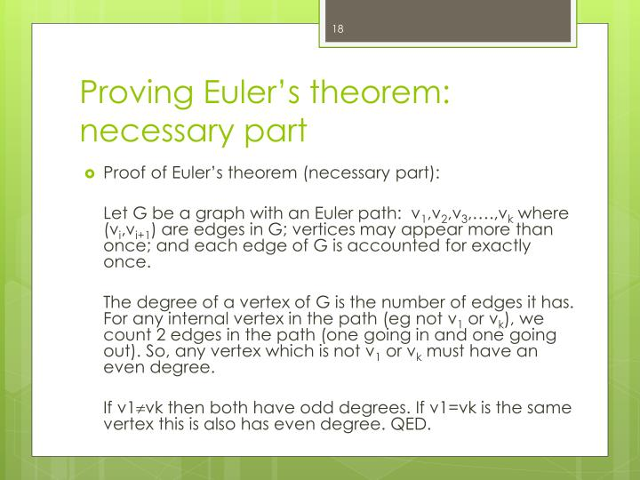 Proving Euler's theorem: necessary part