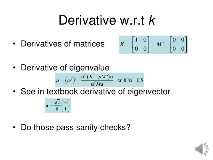 Derivative w.r.t
