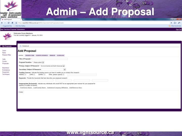 Admin – Add Proposal