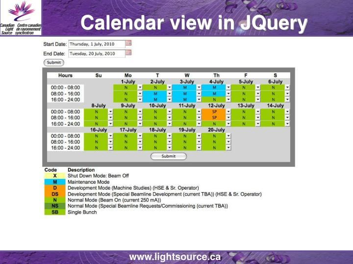 Calendar view in JQuery