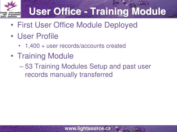 User Office - Training Module