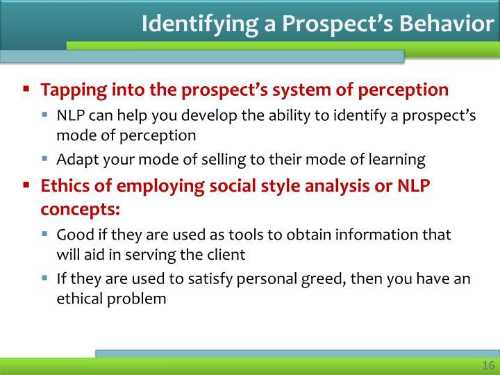 Identifying a Prospect's Behavior