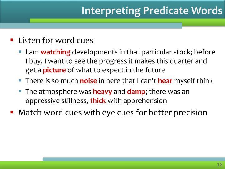 Interpreting Predicate Words