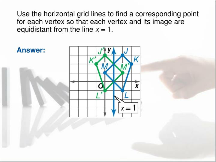 Use the horizontal grid lines to find a corresponding point for each vertex so that each vertex and its image are equidistant from the line