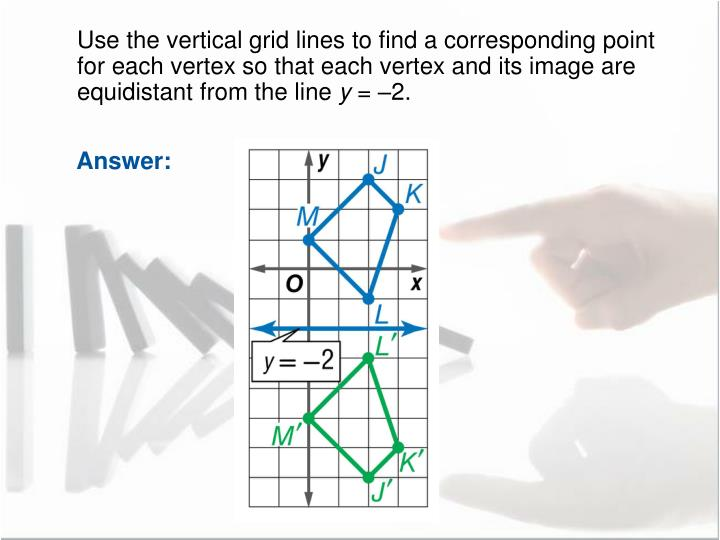 Use the vertical grid lines to find a corresponding point for each vertex so that each vertex and its image are equidistant from the line
