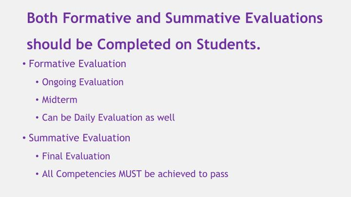 Both Formative and Summative Evaluations should be Completed on Students.