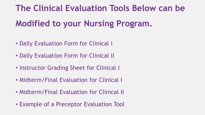The Clinical Evaluation Tools