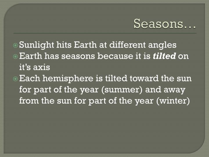 Seasons…