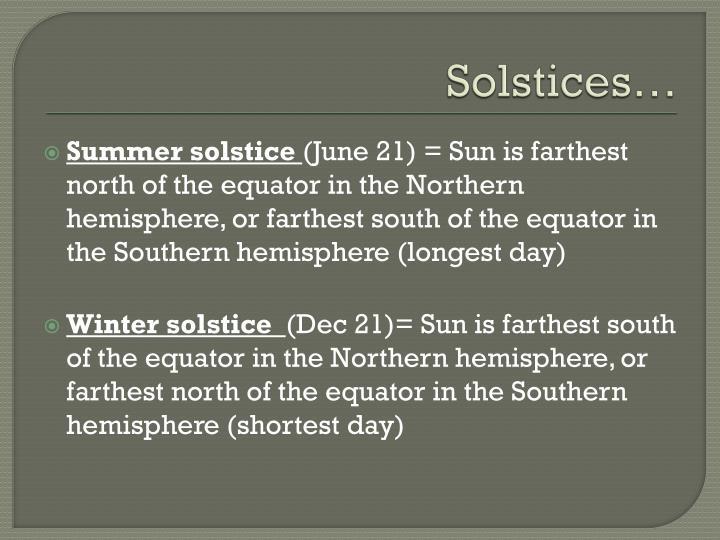 Solstices…