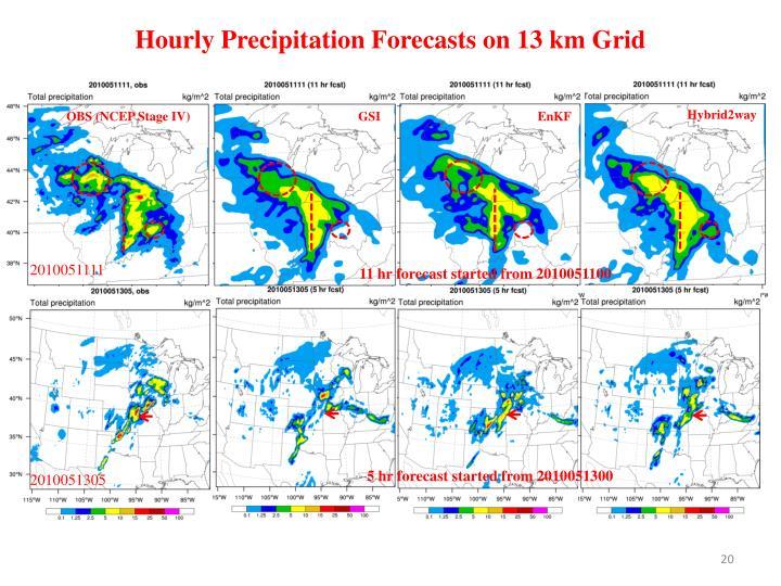 Hourly Precipitation Forecasts on 13 km Grid